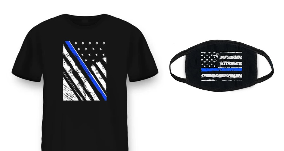 "Image: Health Ranger Store launches PRO-POLICE ""Thin Blue Line"" T-shirts and masks – declare your support for COPS who keep us SAFE"