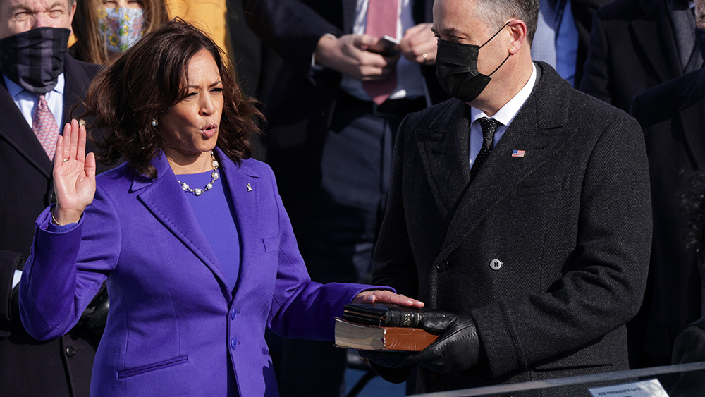 Image: Grotesque hypocrisy: Kamala Harris supports murdering babies in the womb, demands everyone be vaccinated because Bible says so