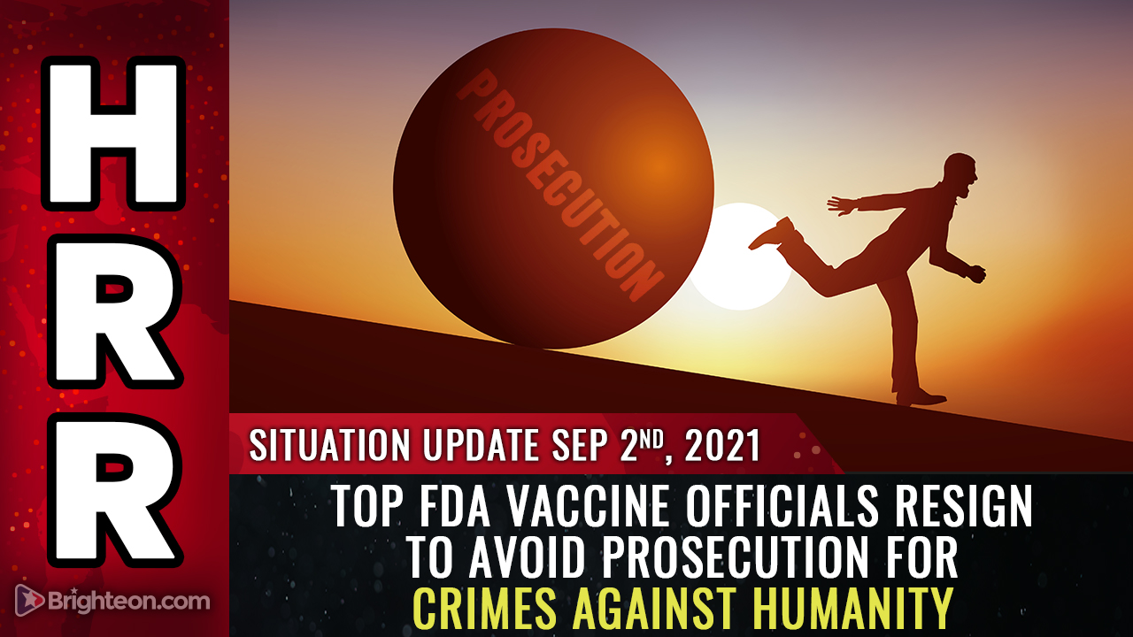 Image: Top FDA vaccine officials RESIGN to avoid prosecution for crimes against humanity as White House, CDC commit GENOCIDE